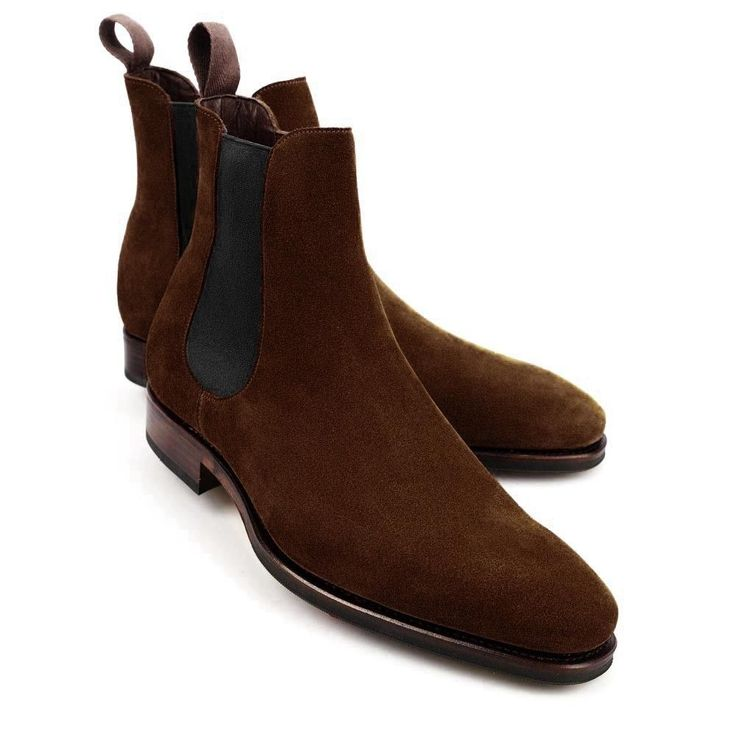 Handmade Chelsea Brown Suede Boots Ankle High Two Tone Leather Stylish Boots Men #Handmade #AnkleBoots