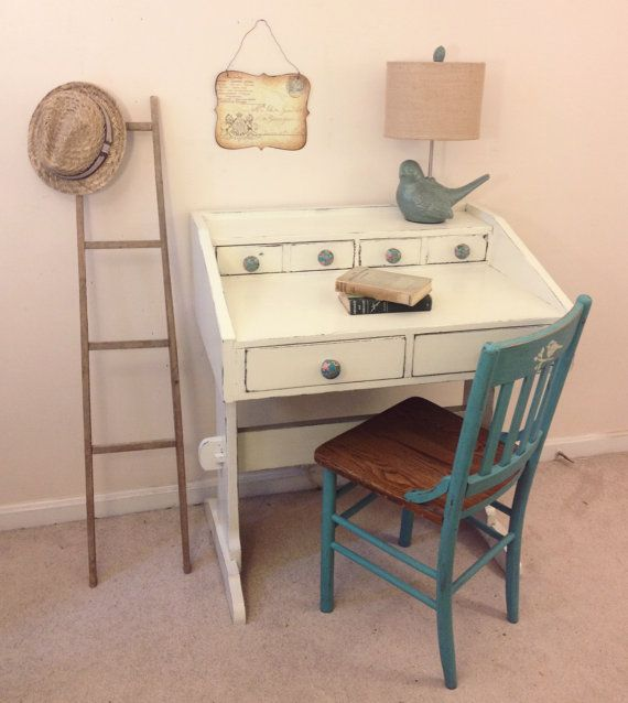Shabby Chic Painted Writing Desk  by FurnitureAlchemy; general finishes antique white, milk paint, painted desk ideas, white desk