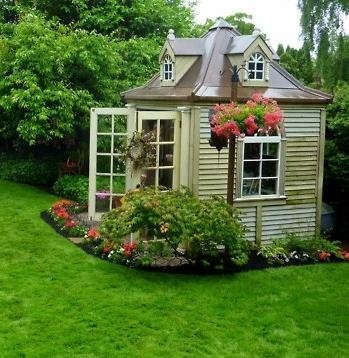 cool garden shed.  Would love for my son to have something like this to house all  of his gardening needs.