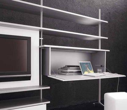 Un escritorio oculto en el mueble del salón - Decoración de Interiores | OpenDeco