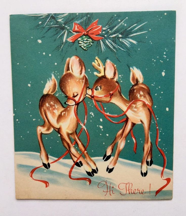 Vintage Christmas Greeting Card Deer Fawn Kiss Mistletoe Tree Snow Mid Century