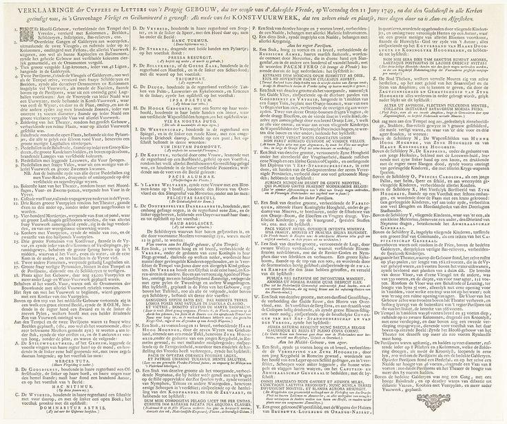 Anthoni de Groot en Zoonen | Verklaring bij de prenten van het vuurwerk te Den Haag voor de Vrede van Aken, 1749, Anthoni de Groot en Zoonen, Staten-Generaal, Willem IV (prins van Oranje-Nassau), 1749 | Tekstblad met de verklaring bij de prenten van het vuurwerk op het grote theater opgericht in de Hofvijver te Den Haag op 13 juni 1749 ter ere van de Vrede van Aken gesloten in 1748. Bij de verklaring behoren de voorstelling van het vuurwerk en een plattegrond van het theater.