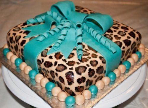 Cheetah print cake with ribbon!
