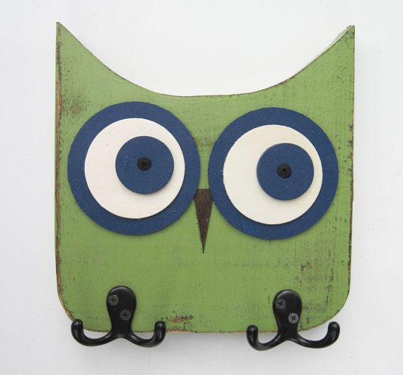 Green and Navy Owl Wall Hooks - FOR KIDS ROOMS