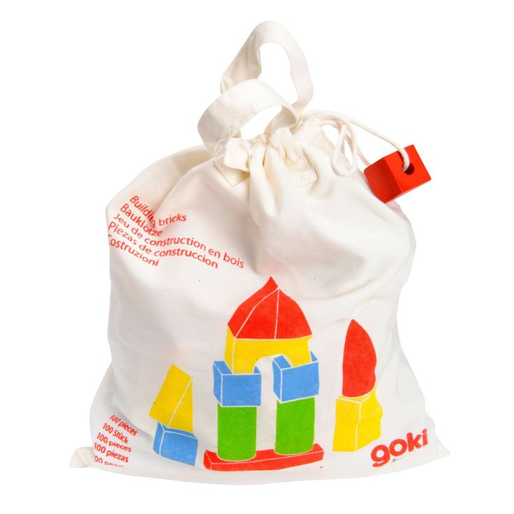 Linnen tas bomvol houten blokken. De blokken zijn blank of in kleur en er zitten er maar liefst 100 in de tas!Afmetingen tas: 26 x 31 x 10cm
