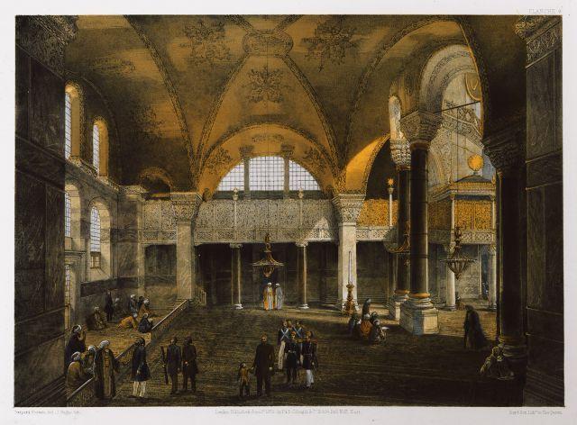 Άποψη της Αυτοκρατορικής (Σουλτανικής) εξέδρας στην Αγία Σοφία της Κωνσταντινούπολης. Η εξέδρα αυτή ήταν τοποθετημένη μεταξύ του Μιχράμπ και των κιόνων από την Έφεσο που έφερε στην πρωτεύουσα ο Ιουστινιανός Α΄. - FOSSATI, Gaspard - ME TO BΛΕΜΜΑ ΤΩΝ ΠΕΡΙΗΓΗΤΩΝ - Τόποι - Μνημεία - Άνθρωποι - Νοτιοανατολική Ευρώπη - Ανατολική Μεσόγειος - Ελλάδα - Μικρά Ασία - Νότιος Ιταλία, 15ος - 20ός αιώνας
