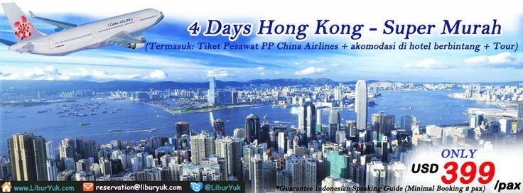 Ayo dapatkan paket liburan ke 4 Hari ke Hong Kong super murah dengan #China #Airlines sekarang juga!  Dapatkan Special Paket tersebut dari #LiburYuk.com di http://liburyuk.com/groupseries/book/30232644/4-Days-Hong-Kong-by-China-Airlines---Super-Murah  #Hongkong #abbeytravel #jalan2 #holiday