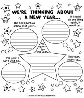 Beginning of year activity -- We're Thinking About a New School Year. Instead of lines leave them blank and students can choose to write or draw.
