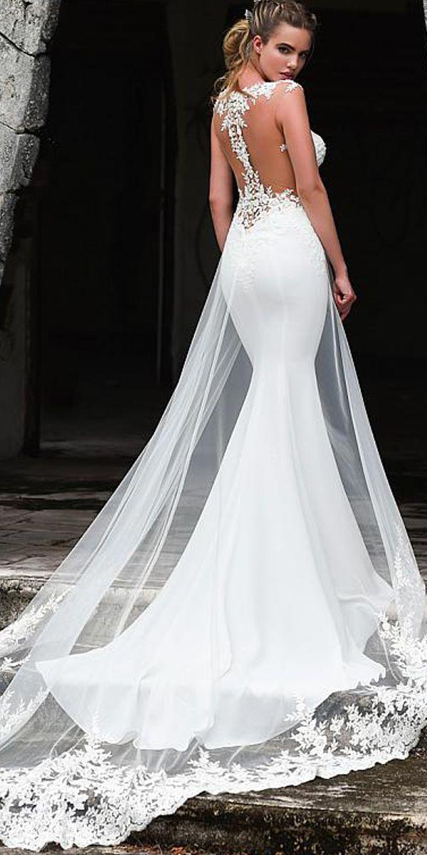 51555ea4f786 Fashionable Tulle & Acetate Satin Jewel Mermaid Wedding Dress With Beaded  Lace Appliques & Detachable Train