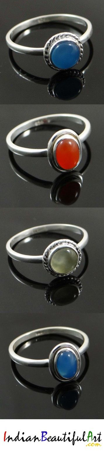 Find delicate sterling silver rings for women that are studded with beautiful precious or semi-precious chalcedony stones with intricate work around them that she can flaunt at her all-girls party.