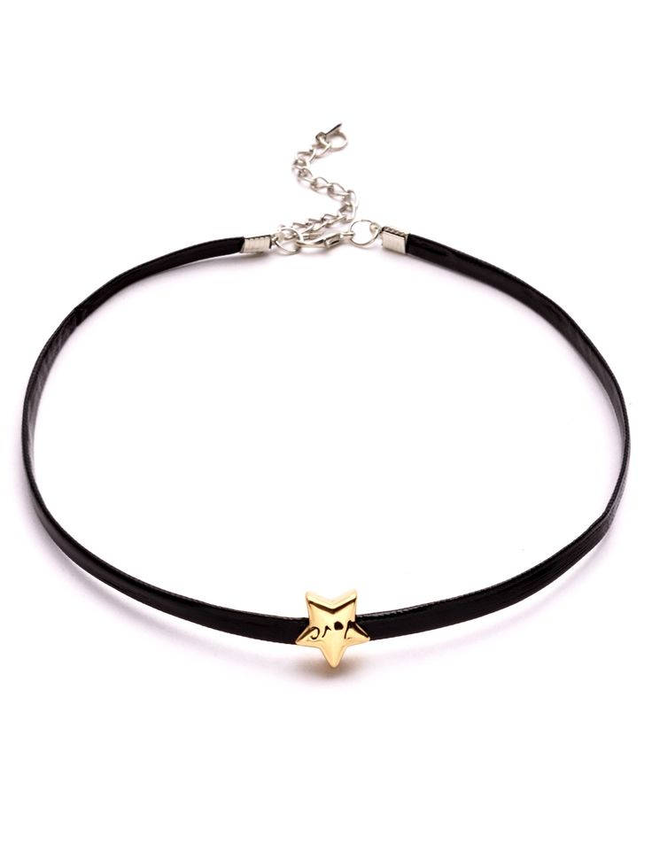 4$  Buy now - http://di6ti.justgood.pw/go.php?t=9335 - Black Faux Leather Metal Star Choker Necklace