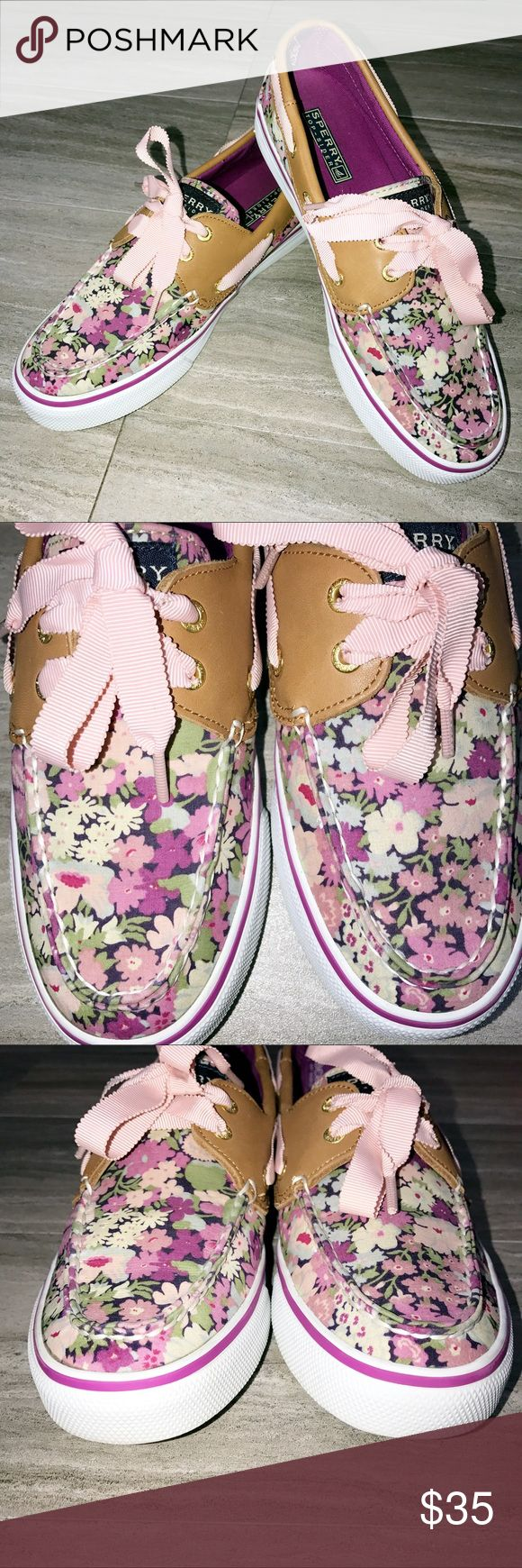 Sperry 🌸Floral Liberty Art Topsider Sperry floral print Liberty Art topsiders. Purple and pink floral print, tan leather and white trim, and light pink ribbon laces. Very clean and good condition! Minimal wear inside and out. 🌸 Sperry Top-Sider Shoes Sneakers