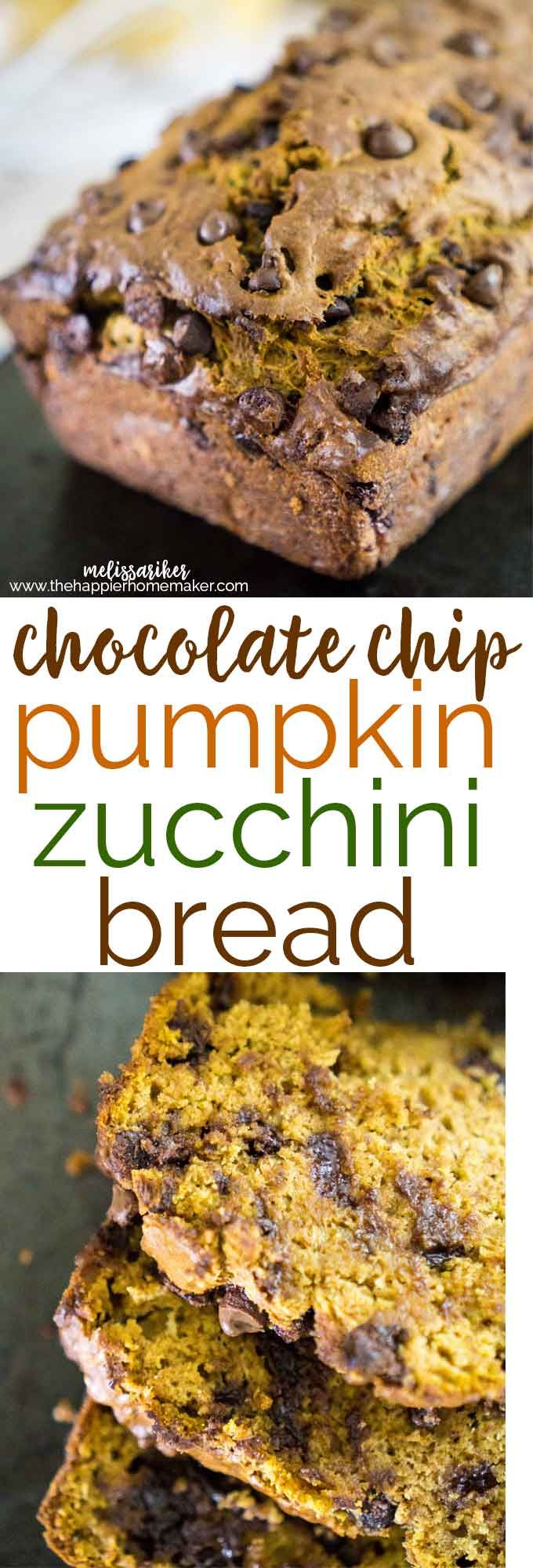 Moist, delicious Chocolate Chip Pumpkin Zucchini Bread recipe that's perfect for fall.