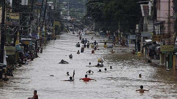 Under water ... the flooding in Manila. Global Warming anyone?