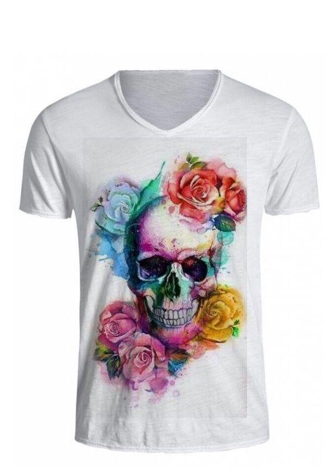 83bbba785 Camiseta estampada Caveira e Flores Colorida Camiseta Branca 100% Poliéster  Vendas em Breve Sigam   threeup