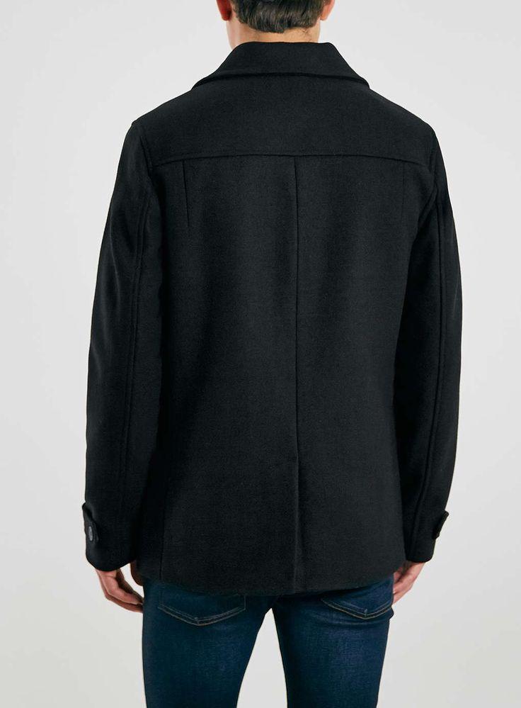 Black Wool Blend Peacoat Jacket - Topman
