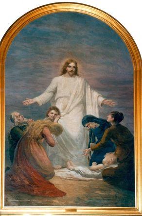 """""""Tulkaa minun tyköni kaikki"""". Alexandra Frosterus-Såltin (1837-1916) maalasi Pyhäjärven kirkon alttaritaulun v.1889. Taulu on entisöity ja sijoitettu v.1984 Huittisten kirkkoon."""