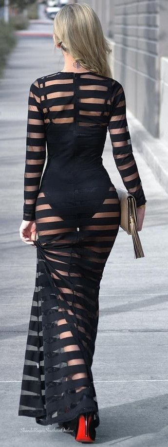 Black And Sheer Stripe Glam Maxi Dress Black Louboutin Pumps |Shanda Rogers