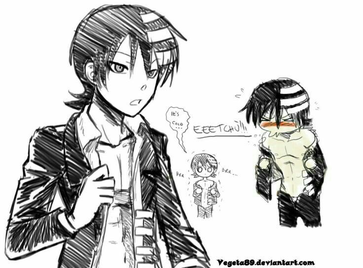 Death the Kid, funny, blushing, cute, chibi, text; Soul Eater
