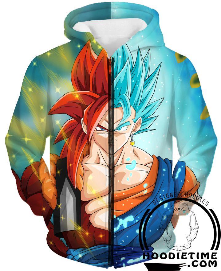 Dragon Ball Z Hoodies - Super Saiyan Blue Vegetto and SSJ4 Gogeta Hoodie - Vegito