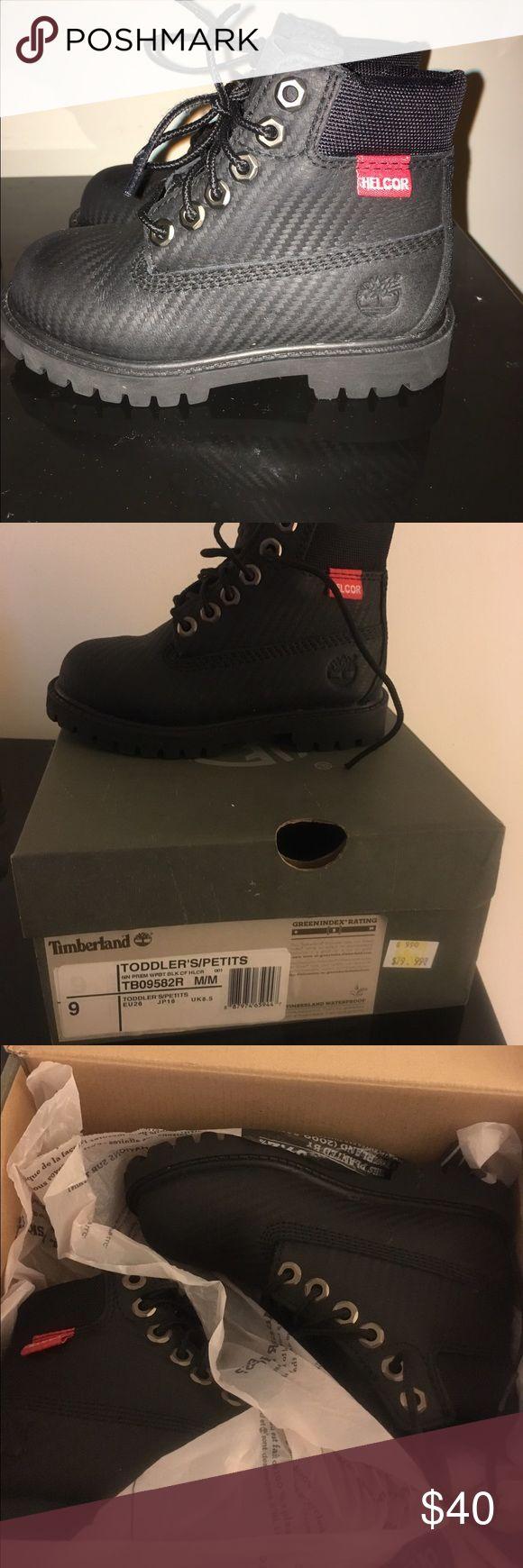 "Toddler Timberlands boot size 9 TIMBERLAND 6"" PREMIUM WATERPROOF BOOTS - BOYS' TODDLER  Black Rebar Size 9 Timberland Shoes Boots"