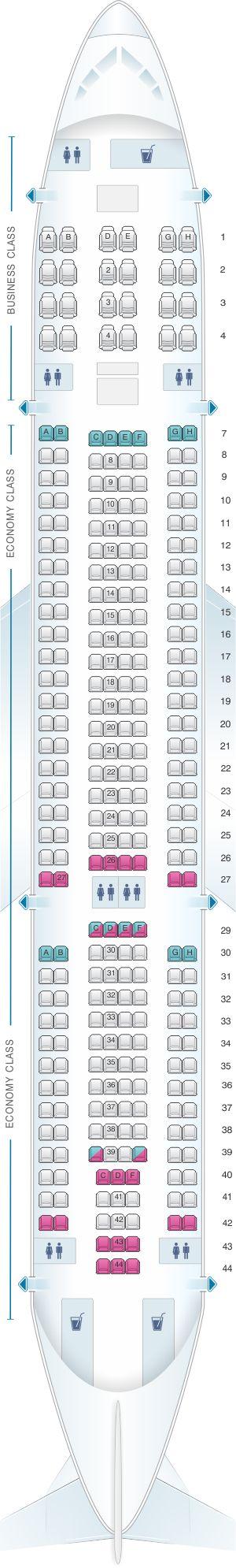 Mapa de asientos de Air Europa Airbus A330 200. Plano del avión detallado con información adicional sobre el espacio para las piernas, grado de reclinación y las amenidades.