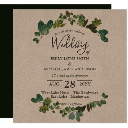 Rustic Kraft Wedding Invitation Green Leaf Square - summer wedding diy marriage customize personalize couple idea individuel