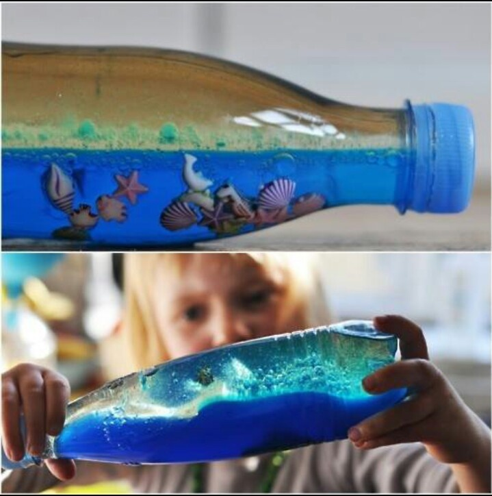 Need plastic bottle 1/3 filled with water add blue food coloring. Add oil to fill the bottle (oil and water dont mix so it gives you waves!) You can even add sand,glitter,plastic fish, seashells whatever to make it look like an ocean!  Pretty cool I want to try this!