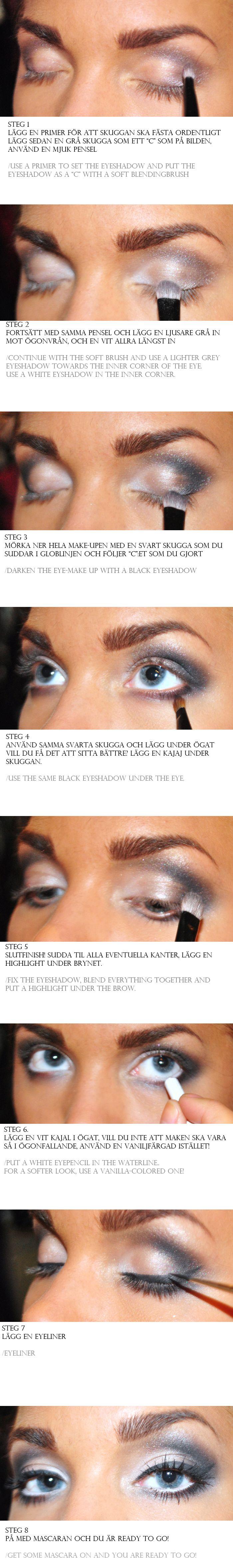 Smoky look tutorial  http://www.lindahallberg.se/2012/07/make-up-tutorial-smoky-look/tutsot/