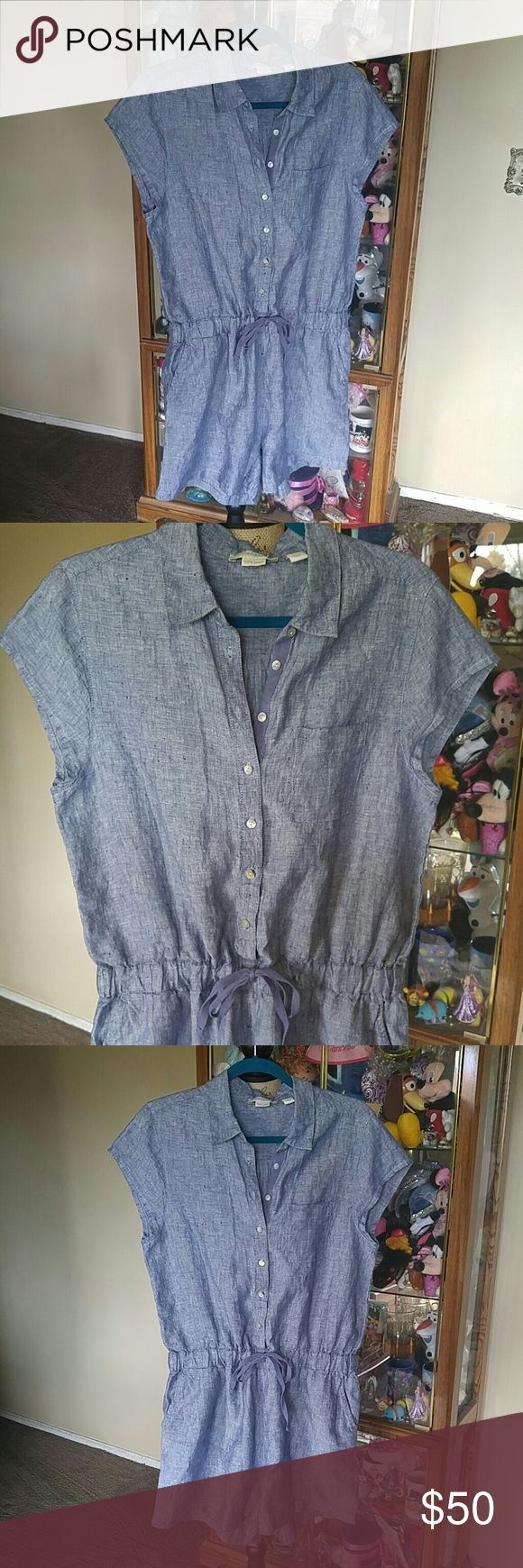 Cynthia Rowley 100% linen cotton short romper The Celica for and Cynthia Rowley size large 100% linen cotton Romper is ready to sell no holes or tears or stains. It is absolutely beautiful all the buttons are attached. A wonderful name brand and it's ready to sell. No low-ball offers will be accepted on this item no trades Cynthia Rowley Shorts