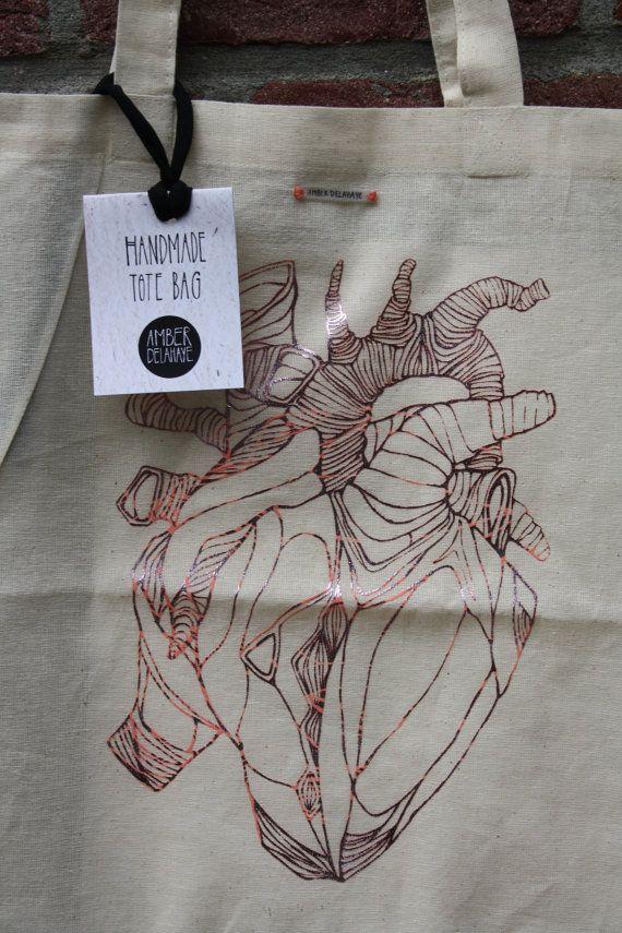 Hart print folie zeefdruk tote bag van amberdelahaye op Etsy