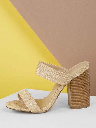 c625558f066f Raffia Woven Double Band Stacked Heel Sandals