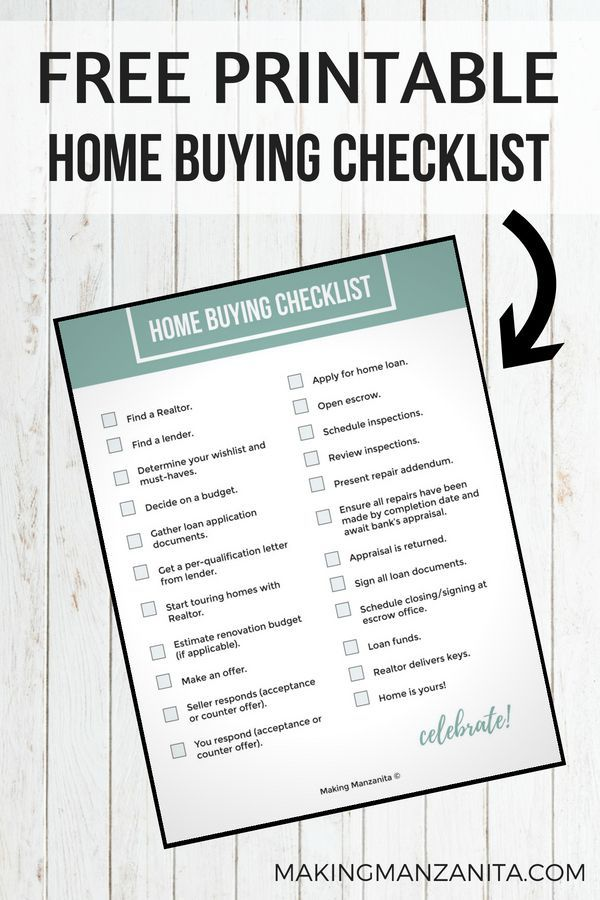 Download Your Free Home Buying Checklist Printable Making Manzanita Home Buying Checklist Home Buying Home Buying Process
