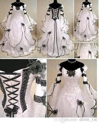 Gothic White/Ivory Applique Sweetheart Wedding Dress Ruffles Bridal Gown Custom …