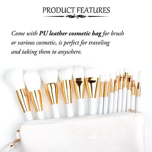 Qivange Brush Set, Synthetic Foundation Eyeshadow Makeup Brushes (15pcs, White With Gold )