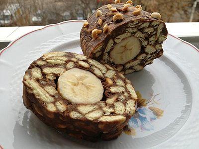 Salam de biscuiți cu banane