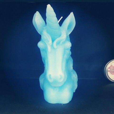 Blue unicorn candle
