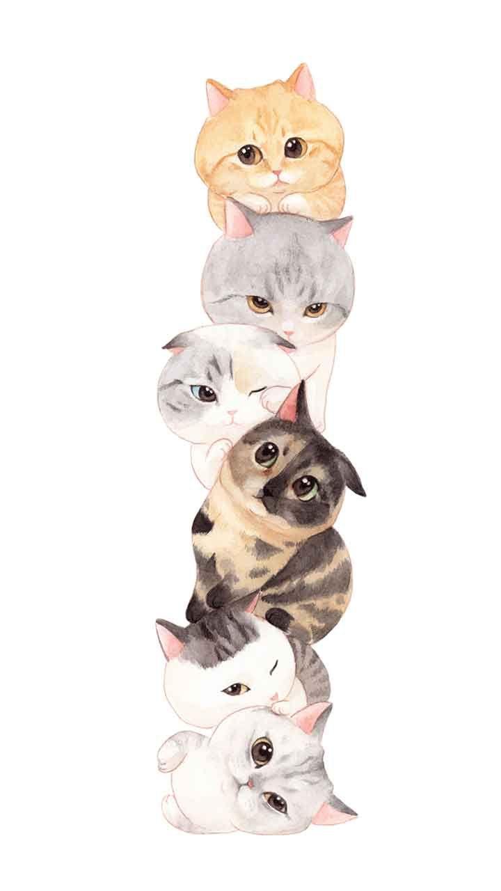 Cats Family3 B Seni Kucing Ilustrasi Kucing Fotografi Hewan