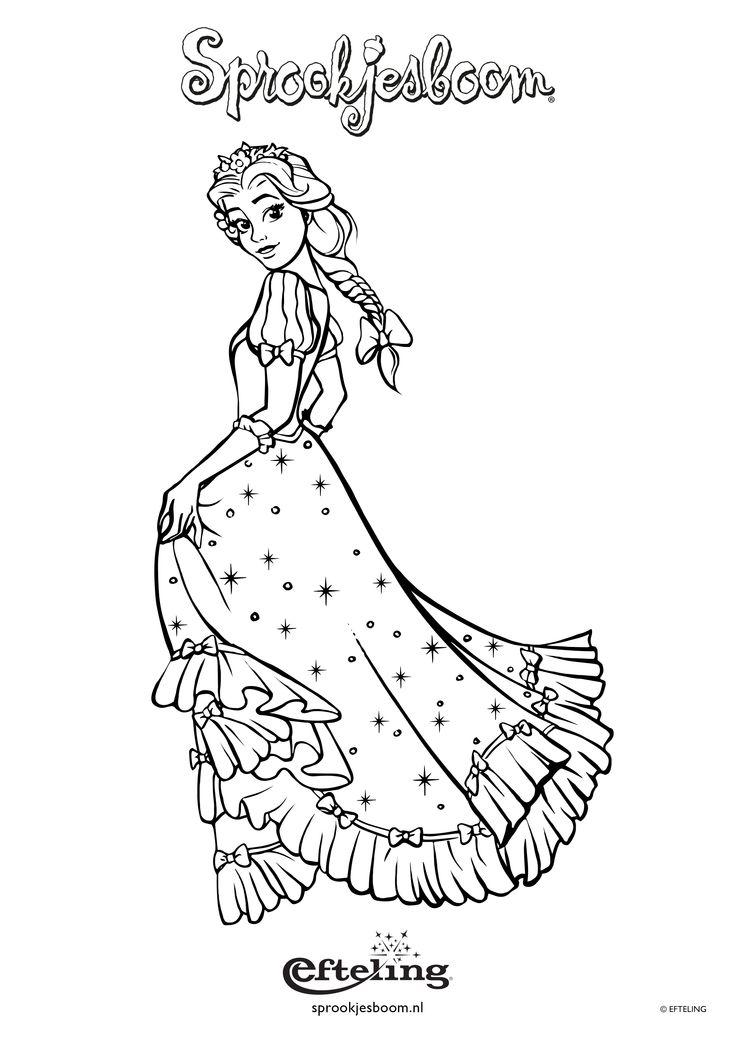 Sprookjesboom kleurplaat van Assepoester