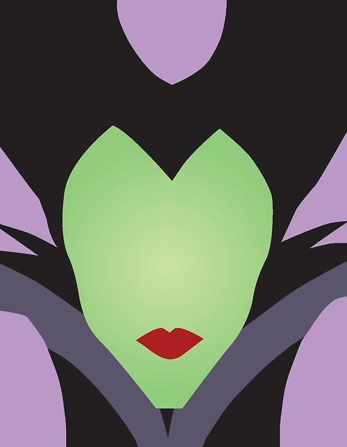 Maleficent simple design fan art. Disney,  portraits, vector, digital.