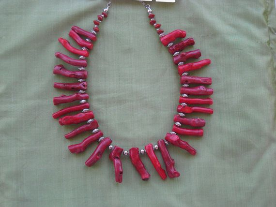 Stunning Red Coral necklace Statement Necklace by NecklaceTech