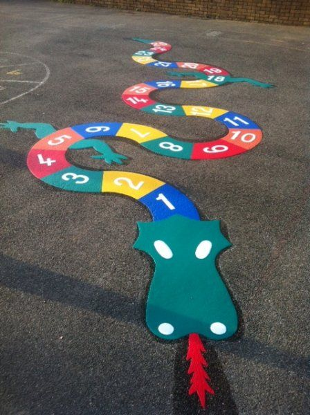 Say hello to Neville the dragon! The thermoplastic playground marking designed to help children learn through exercise and imagination.