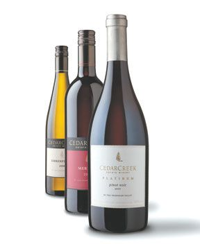 Pick up a BC VQA wine, like these ones from Cedar Creek, for a wine that is guaranteed to be made with grapes grown in Canadian soil