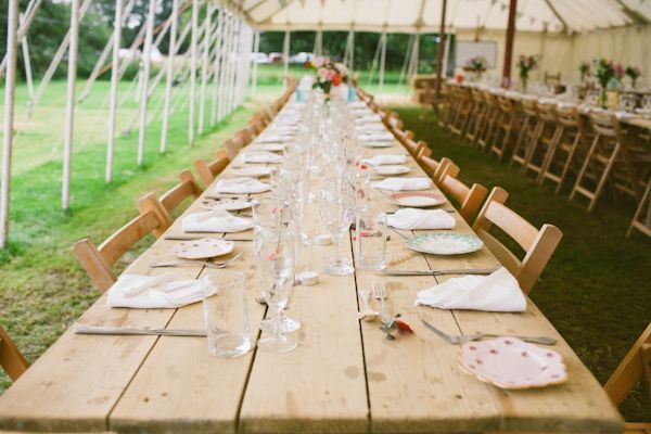 Love a long outdoor rustic party table