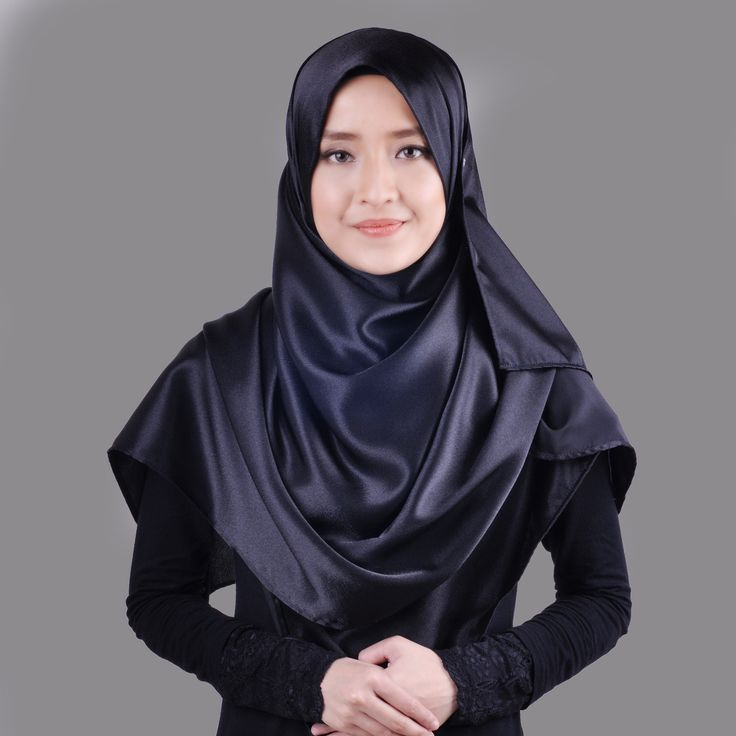 Basic Plain Wide Satin Silk Shawl in Black (Free Hijab Pin!) - BAJUFOUNDRY