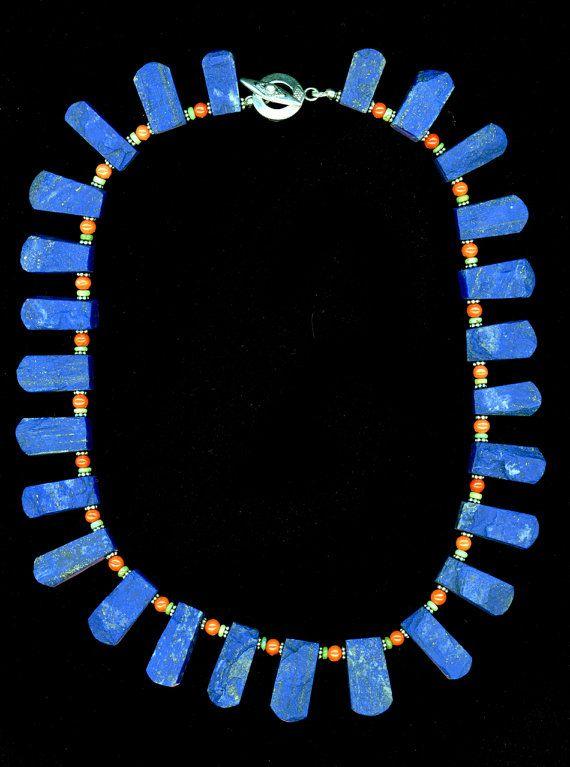 17 3/4 gehämmert schönen blauen Lapis Halsband Halskette Vintage Runde italienische Koralle Faustite Heishi Bali Silber Daisy Abstandshalter Sterling Knebel Verschluss