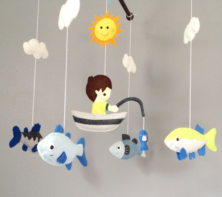 baby mobile crib mobile nursery deor fishing by wonderfeltland wonderfeltland pinterest. Black Bedroom Furniture Sets. Home Design Ideas