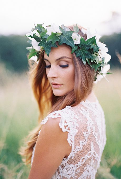 Brides: An Ivy Flower Crown with White Blooms. A deep green ivy leaf flower crown by Intique & Co. gives this bohemian bride a Grecian-inspired look.