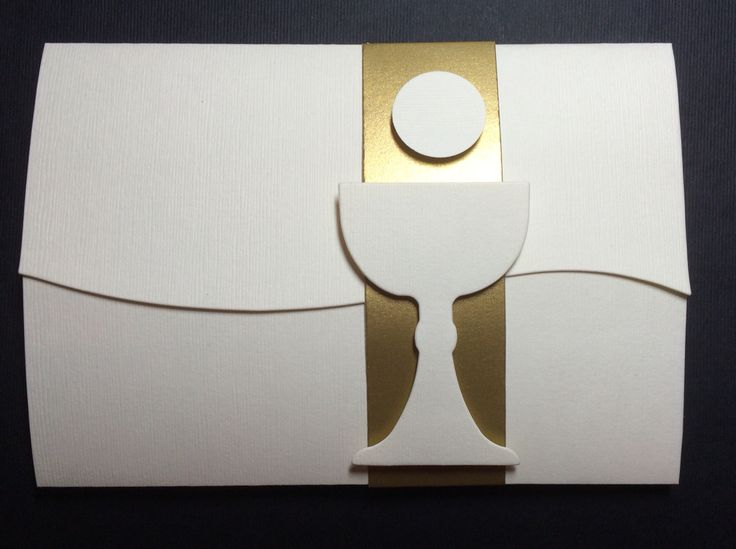 first holy communion invitations made to order features gold band closure for boy or girl, 5x7 swirl open jacket opens to text sheet inside and includes mailing envelope.