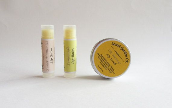 All Natural Lip Set  2 Lip balms Lip scrub Gift by SecretGardenCK